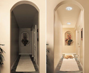 Before and after example of skylight ligthing a dark hallway